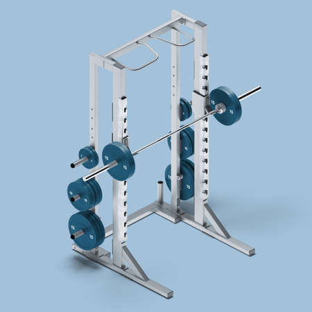 White And Blue Squat Frame On Light Blue Background. Exercycle. Sport, Fitness, Healthy Lifestyle and Bodybuilding. Minimalism Concept. 3d Rendering. Reklamní fotografie