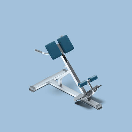 Blue and Silver Bench For Hyperextension. Trainer For Flexing Back and Abdominal Muscles on Bench. 3d Rendering.