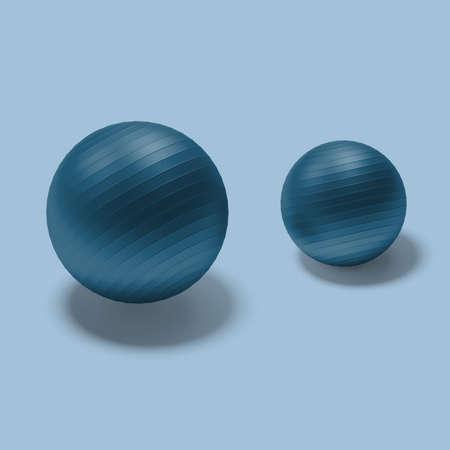 Blue Gymnasium Fitballs On Blue Background. 3d Rendering. Reklamní fotografie - 153787755