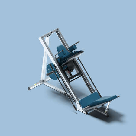 Leg Press Machine On Light Blue Background. Exercycle. Sport, Fitness, Healthy Lifestyle and Bodybuilding. Minimalism Concept. 3d Rendering.