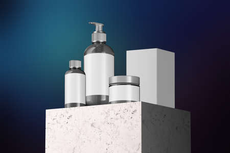 Cosmetic Bottle Set for Liquid, Cream, Gel, Mask, Lotion, Oil On Stone Showcase and Blue Background. Blank Template of Containers: Dispenser, Cream Jar, Bottle. Minimalism, 3d rendering Reklamní fotografie - 153787969