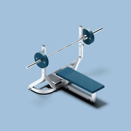 White And Blue Gym Barbell Bench Press On Blue Background. Sport, Fitness, Healthy Lifestyle and Bodybuilding. Minimalism Concept. 3d Rendering. Reklamní fotografie - 153788154