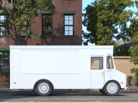 White Blank Realistic Food Truck With Closed Window. Modern Cityscape. Takeaway Food And Drinks. Mock Up. Copy Space, Empty Space. 3d rendering.