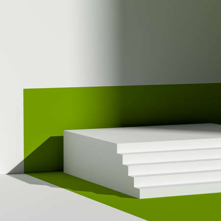 White Stairs As Showcase with Empty Space on Green Background Near White Wall. 3d rendering. Minimalism Concept. Copy Space