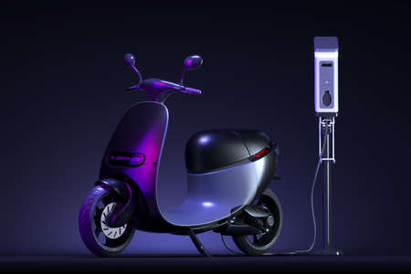 Black Electric Scooter With Electric Charger At Dark Background Illuminated By Violet Neon Light. Eco Alternative Transport Concept. 3d rendering.