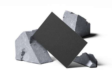 Black Blank Business Card On Broken Concrete Or Stone on White Background. Empty space. Copy space. 3d rendering. 版權商用圖片