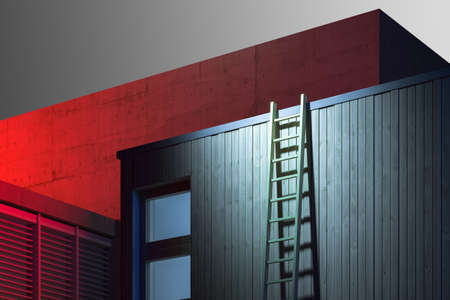 Wooden Ladders Leant Unto Wooden Building Wall, Building On Background Illuminated By Red Light. 3d rendering.