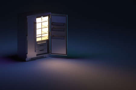 Empty Shelves of Big Steel Refrigerator at Empty Room at Night Time. Showcase. Diet Keeping. Copy Space. Empty Space. 3d Rendering. High quality 3d illustration