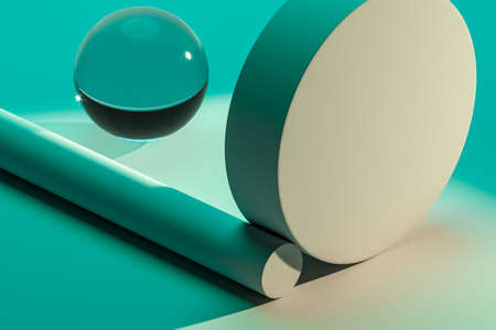 Matte blank cylinder wall for advertising goods presentation. Podium stage made of abstract geometric figures. Glass ball. Copy space. Empty space. Realistic 3d rendering