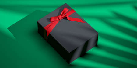 Blank gift box with bow for holidays, celebration and sale event concept. Present package template. Black gift box with red ribbon bow on green background. Plant shadows on wrapping. High quality 3d rendering.