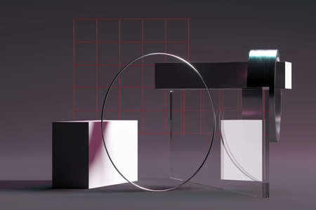Abstract geometric shapes, podium and platforms for product presentation, mock up background. Abstract composition in minimal design for advertising and presentation of goods. Copy space. Empty space. Podium stage made of abstract geometric figures. 3d rendering