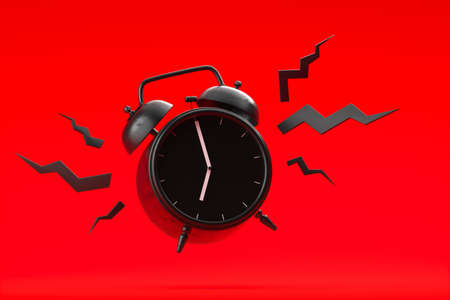 Vintage black alarm clock is ringing on red background. Time to begin new day and new life. Countdown. High quality 3d rendering