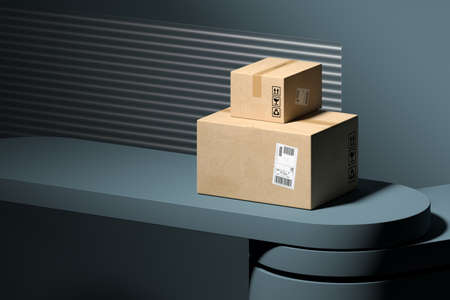Concept of online orders, shopping and delivery. Cardboard boxes on gray abstract showcase and background. Parcels waiting for its delivery. Minimalism. High quality 3d rendering