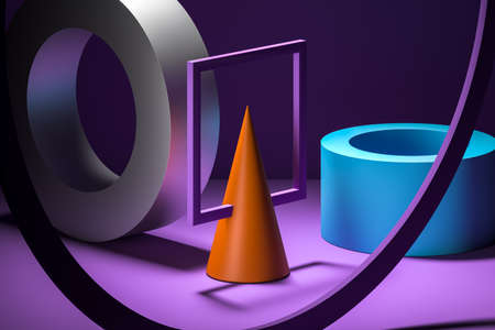 Multicolored abstract geometric figures as showcase for product presentation. Minimalistic composition for advertising. Creative Wallpaper. Podium stage made of bright colorful plastic figures on violet background. Copy space. Empty space. 60s. sixties. 3d rendering Banque d'images
