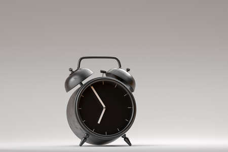 Black alarm clock on bright monchrome background. Minimalistic style. Time to begin new day and new life. Countdown. 3d rendering