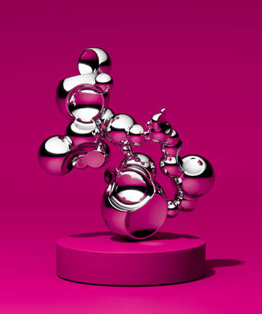 Creative showcase for advertising and product presentation. Mercury or silver abstract geometry figure on acid pink background and pedestal. Abstract product display. Copy space. Empty space. Modern Art. 3d rendering