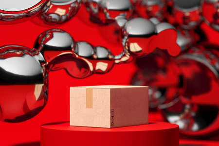 Concept of online orders, shopping, delivery. Blank cardboard box on red showcase near mercury or silver abstract bubbles on red background. Copy space. Empty space. High quality 3d rendering