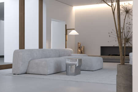 Stylish interior of living room with firm and geometric lines and forms. Minimalism and constructivism Concept. Design couch, dried flowers of hogweed, elegant accessories in modern home decor. Template. Bright minimalistic interior with abundance of light from big windows. High quality 3d rendering.
