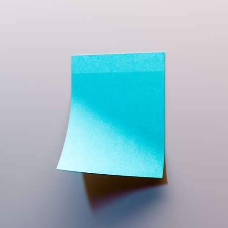 Blue sticker on white wall. Scrum. Reminder. Copy space. Empty space. Place for your ad. High quality 3d illustration