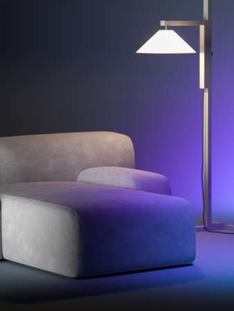 Minimalism style. Close up of beige design comfortable couch near stylish floor lamp on violet gradient background. Copy space for ad. Template. 3d rendering