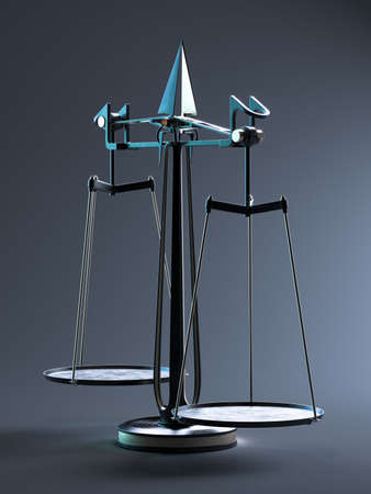 Vintage stylish scales. Scale of justice. The criminal and civil law. Searching stability. Equality. Critical thinking. 3d rendeing Banque d'images
