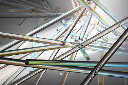 Transparent glossy sticks moving randomly and reflecting sunbeams with rainbow colors on gradient gray background. 3d rendering. High quality 3d illustration Banque d'images