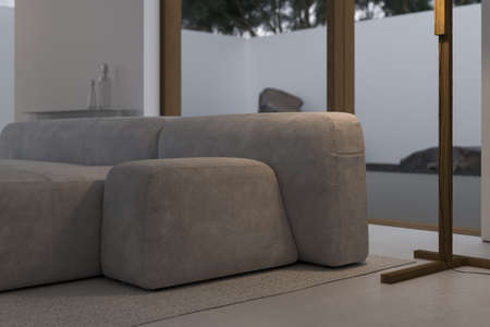 Stylish interior of living room with firm and geometric lines and forms. Minimalism and constructivism Concept. Beige design comfortable couch near big terrace. Copy space for ad. Template. Bright minimalistic interior with abundance of light from terrace. High quality 3d rendering.