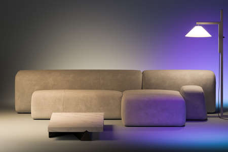 Minimalism style. Beige design comfortable couch near stylish floor lamp beaming violet light. Copy space for ad. Template. 3d rendering Banque d'images