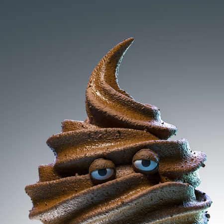 Concept of frustration and lack of motivation. Poop in the form of melting sad ice cream. High quality 3d illustration
