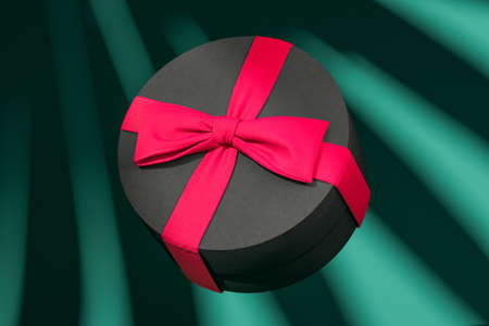 Blank round gift box with bow for holidays, celebration and sale event concept. Present package template. Black round gift box with pink ribbon bow on green background. Plant shadows on wrapping. High quality 3d rendering