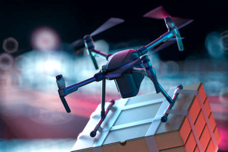 Concept of express delivery and online orders at any time. Drone quadcopter delivering order to buyer by night city. 3d rendering Banque d'images