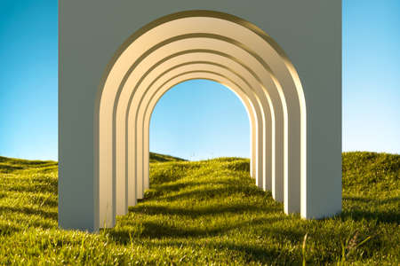 Blank White Arch on Green Grass at Heaven Meadow. Copy Space. Empty Space. 3d rendering high quality
