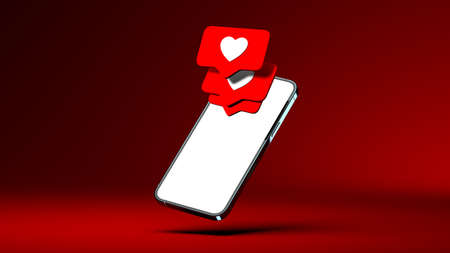 New like notifications pop-ups on a modern smartphone. Social media popularity concept. 3d rendering