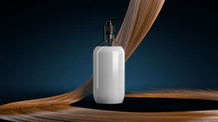 Hair care concept. Shampoo, conditioner on the background of falling strands of bright hair. 3d rendering