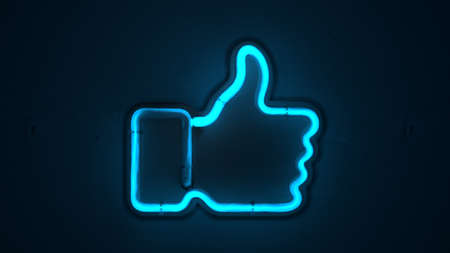 Thumbs up icon shaped neon lamp. Social network communication concept. 3d rendering