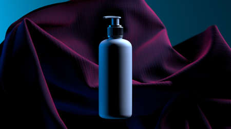 Body treatment, skin and hair care concept. White cosmetic dispenser rotates against a background of light purple fabric. 3d rendering Banque d'images