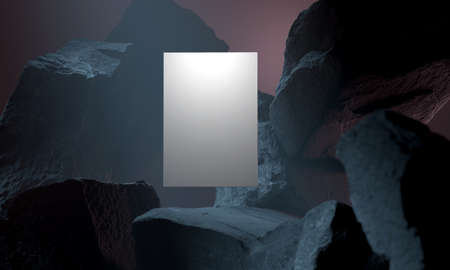 White empty banner in a dark black cave. High quality 3d illustration Banque d'images