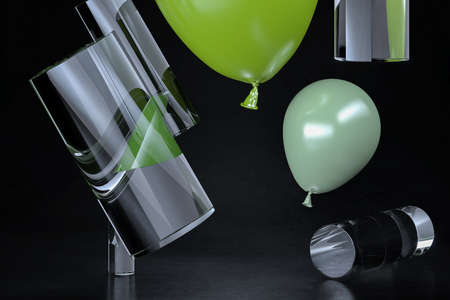 Composition of different shapes and objects with balloons. High quality 3d illustration