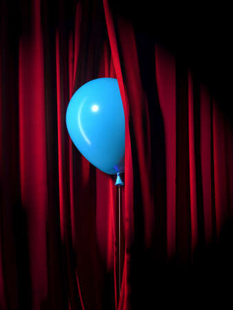 The concept of public speaking. Balloon peeking out from behind the curtains. High quality 3d illustration
