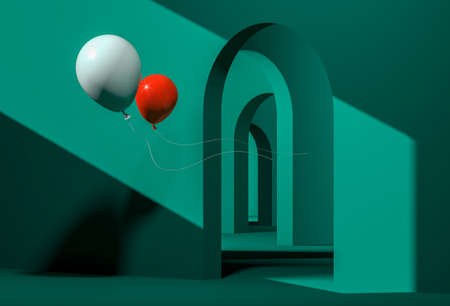 Contemporary art concept. Two balls in a strange maze with endless arches. High quality 3d illustration