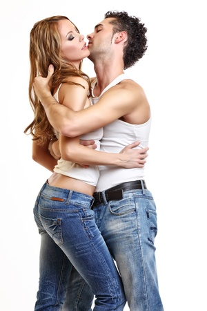 passionate couple love each other photo
