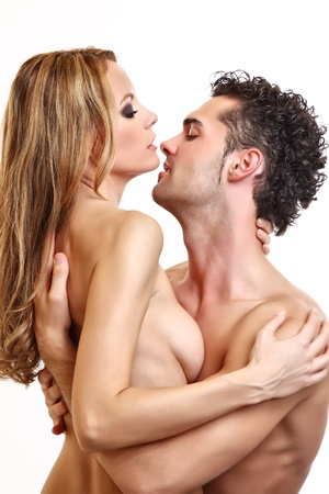 foreplay of a naked passionate couple Stock Photo