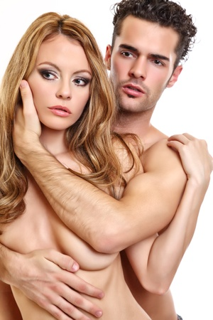 portrait of a naked couple Stock Photo