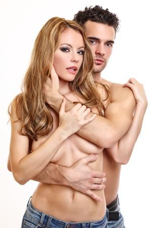 seins nus: portrait d'un couple sexy seins nus Banque d'images