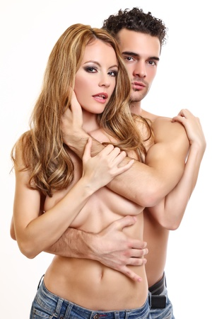 portrait of a sexy topless couple