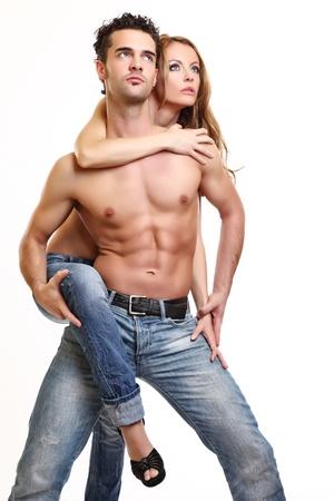 imagen de una pareja en topless Foto de archivo