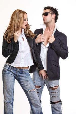 passionate couple flirting photo