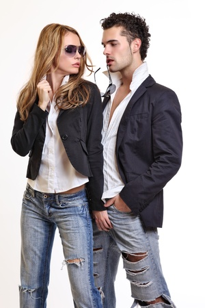 male fashion: sexy woman flirting with a handsome guy