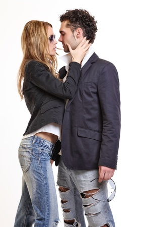 passionate couple flirting photo