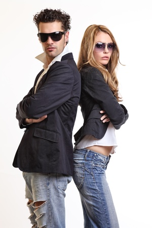 angry blonde: fashion couple in studio
